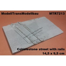 Cobblestone street with rails. 14,5 x 9,5 cm.