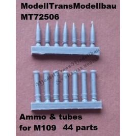 M109 ammo & ammo tubes . 44 parts.