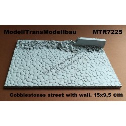 Cobblestones street with wall. 15x9,5 cm.