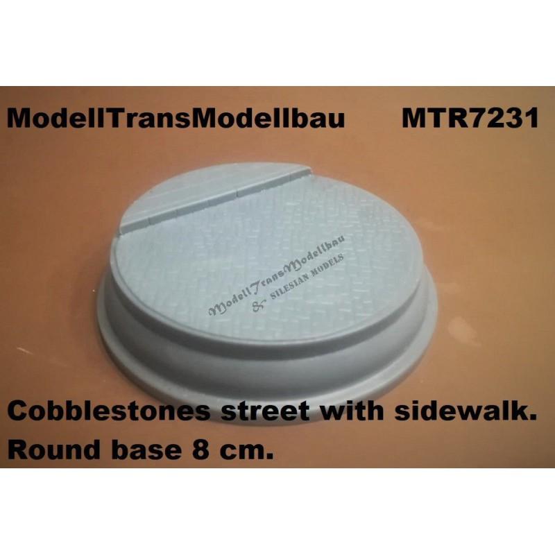 Cobblestones street with sidewalk. Round base 8 cm.