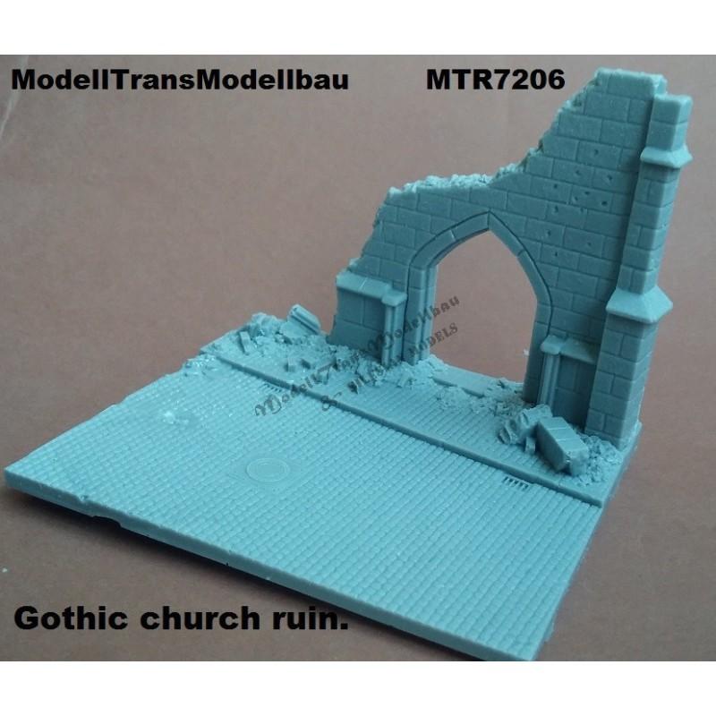 Gothic church ruin.